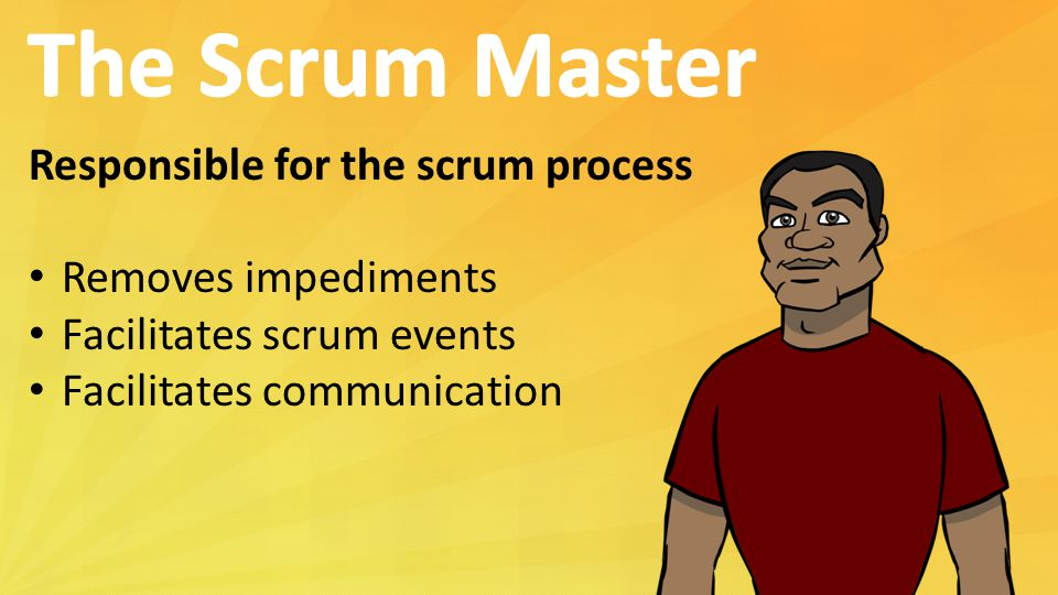 The Scrum Master Responsible for the scrum process Removes impediments