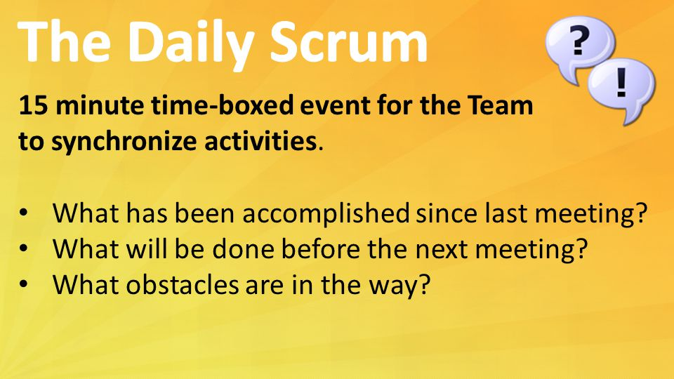 The Daily Scrum 15 minute time-boxed event for the Team