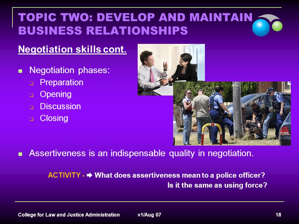 TOPIC TWO: DEVELOP AND MAINTAIN BUSINESS RELATIONSHIPS