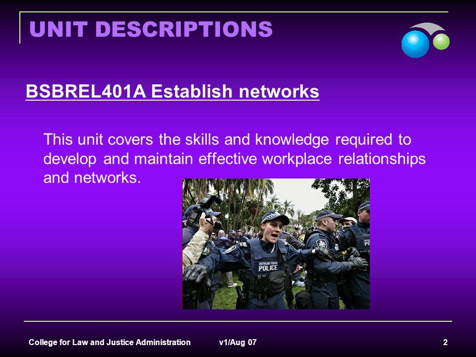 UNIT DESCRIPTIONS BSBREL401A Establish networks