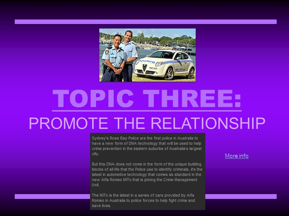 TOPIC THREE: PROMOTE THE RELATIONSHIP