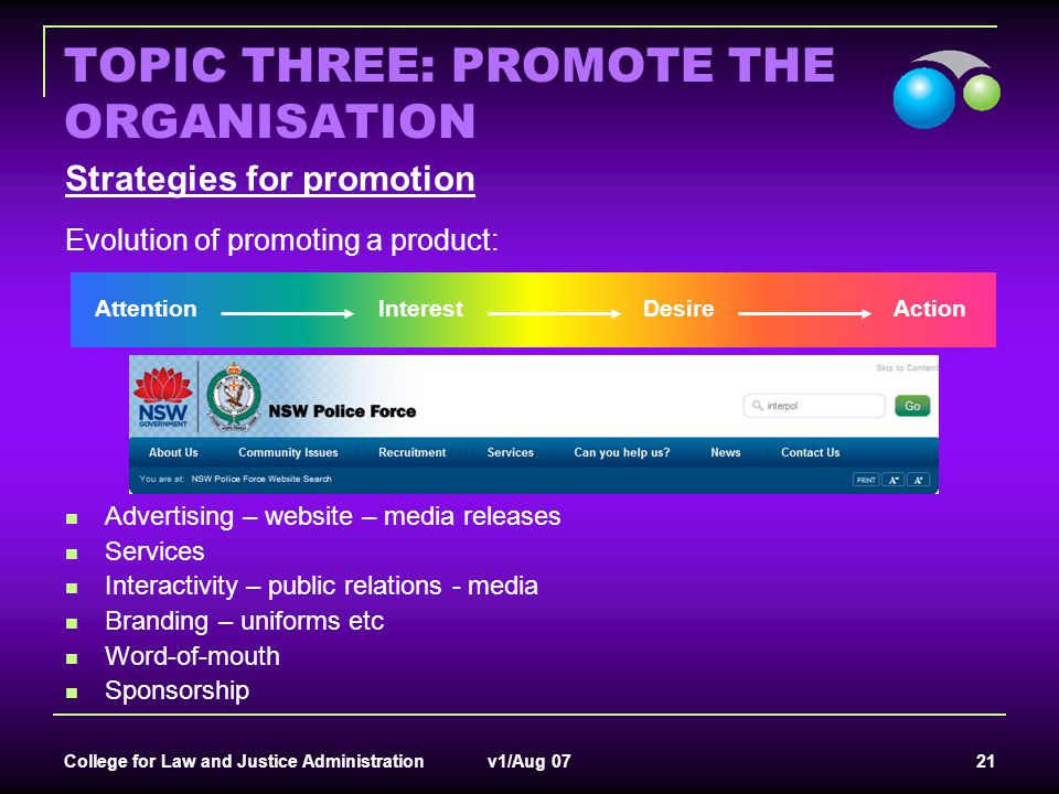 TOPIC THREE: PROMOTE THE ORGANISATION
