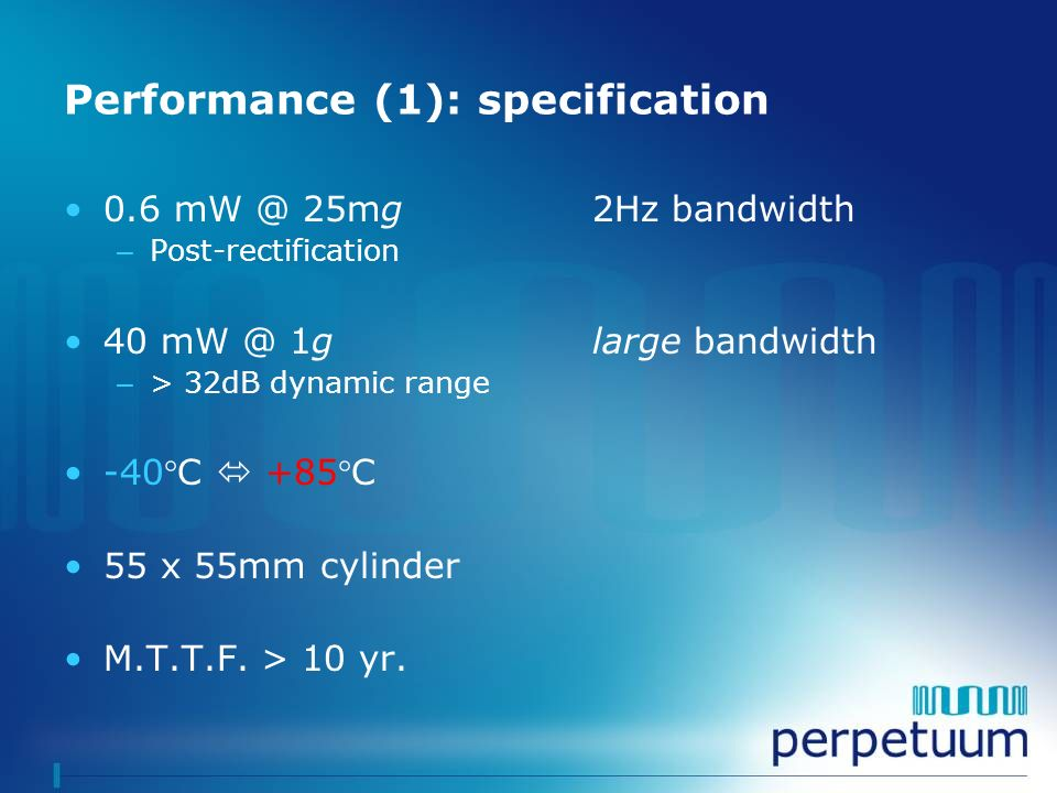 Performance (1): specification