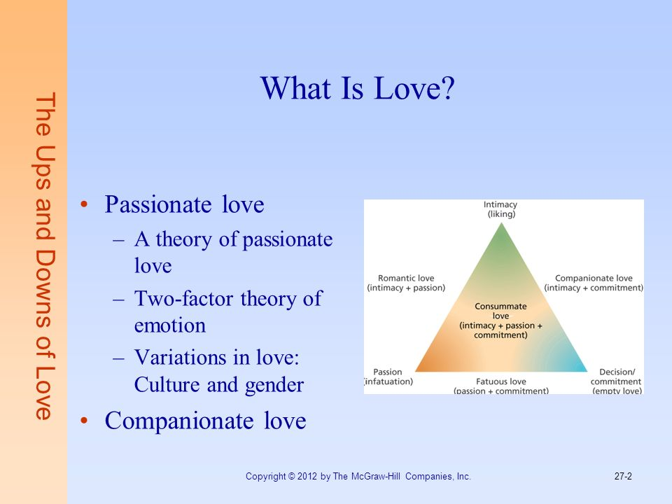 What Is Love The Ups and Downs of Love Passionate love