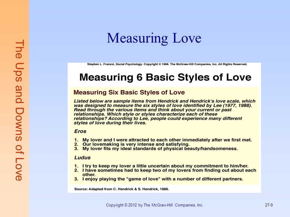 Measuring Love The Ups and Downs of Love