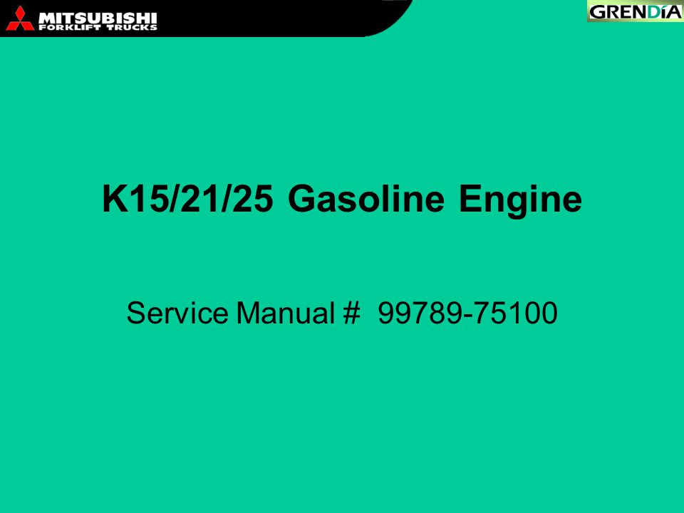 K15/21/25 Gasoline Engine Service Manual # 99789-75100