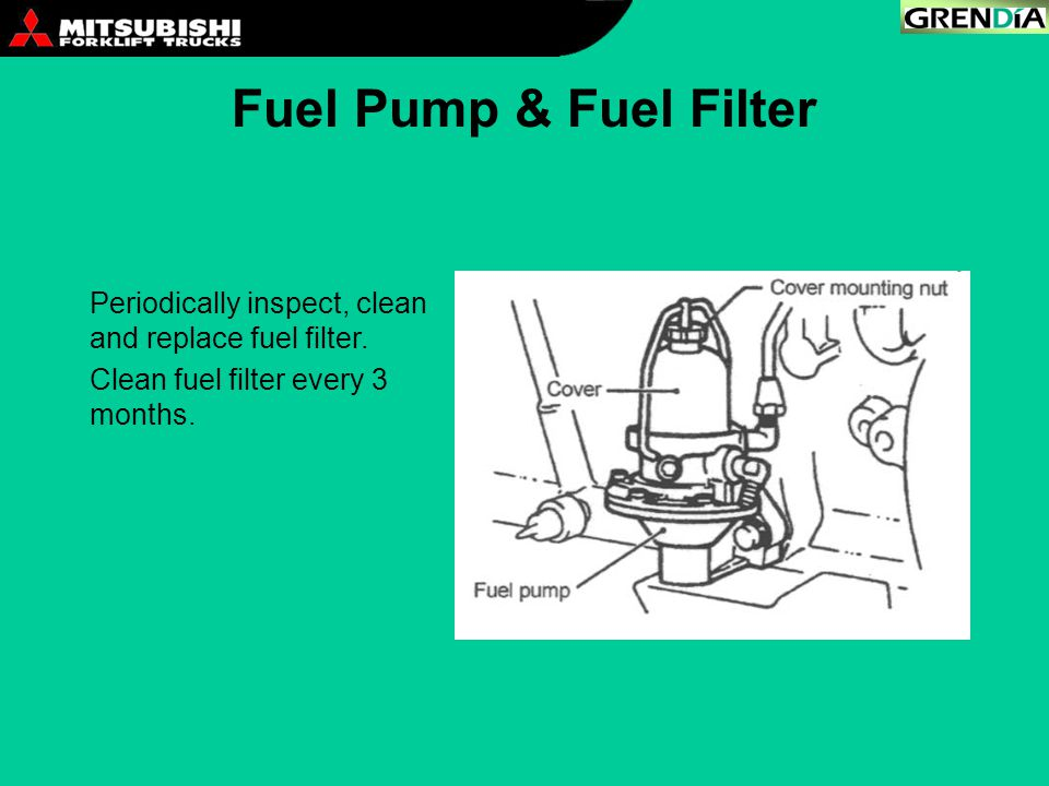 Fuel Pump & Fuel Filter Periodically inspect, clean and replace fuel filter.