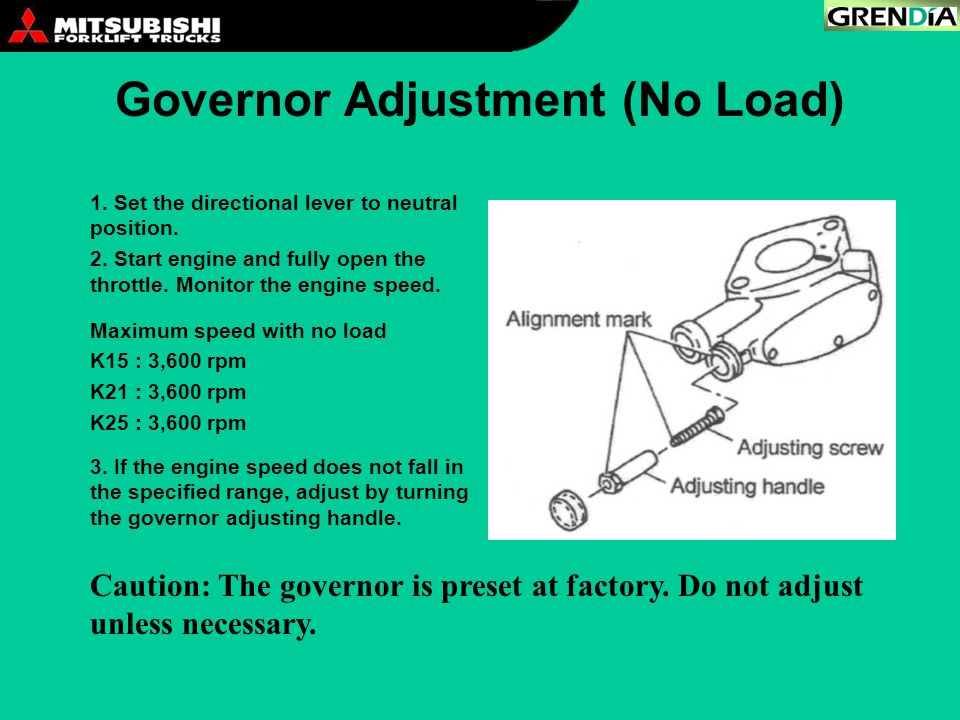 Governor Adjustment (No Load)