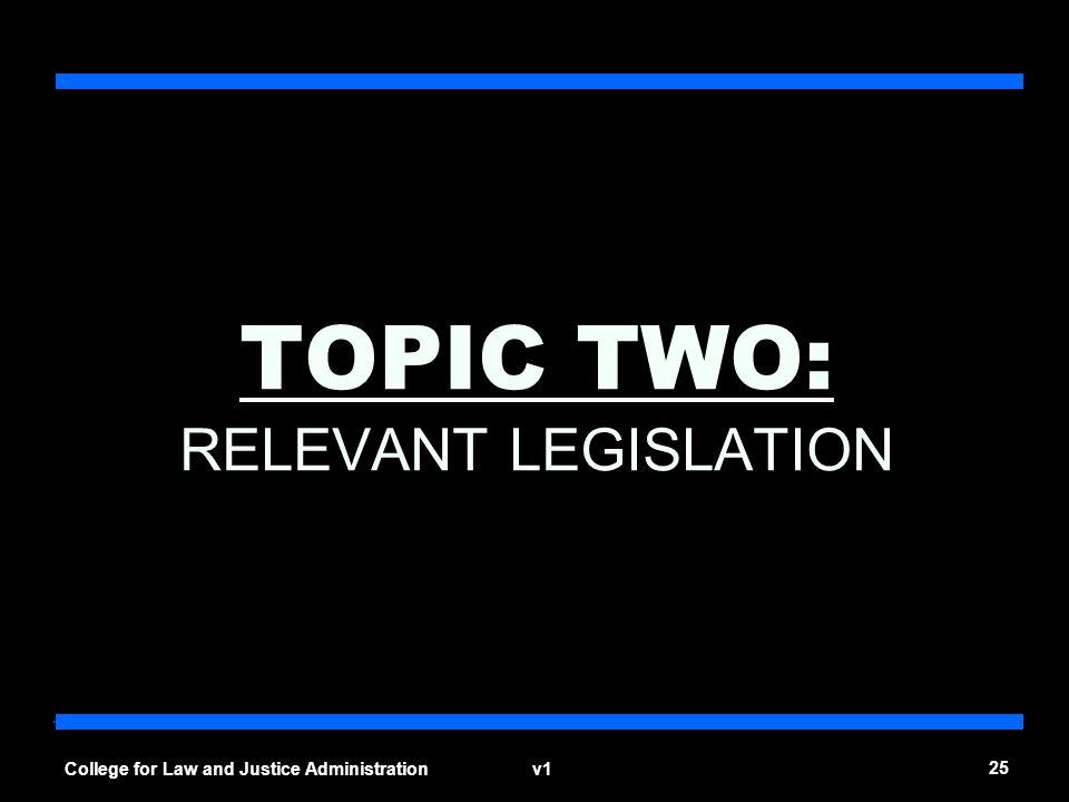 TOPIC TWO: RELEVANT LEGISLATION