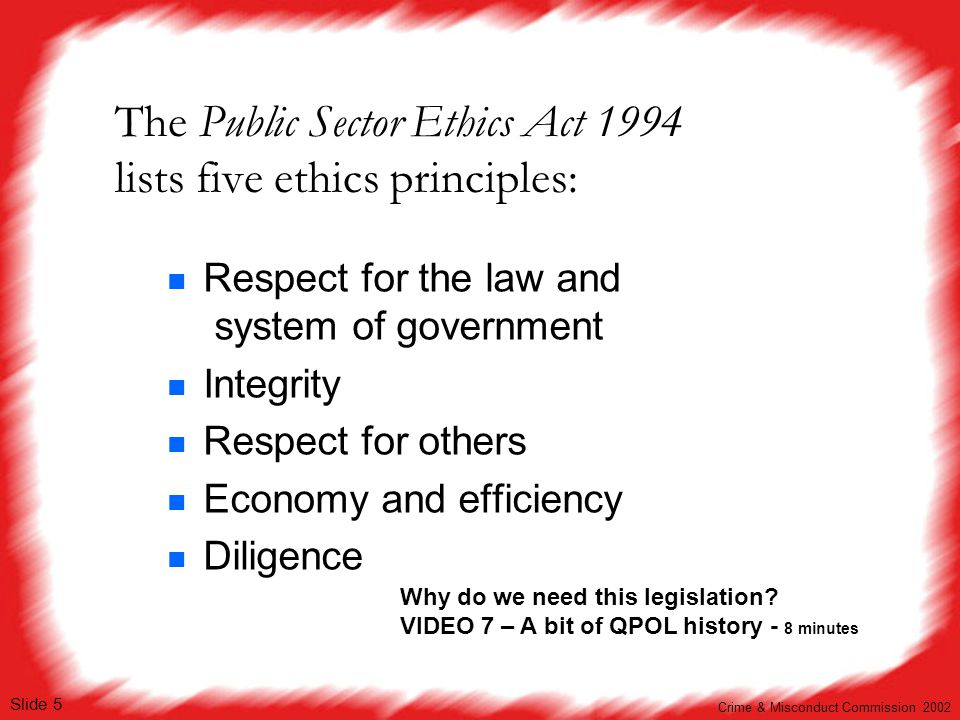 The Public Sector Ethics Act 1994 lists five ethics principles: