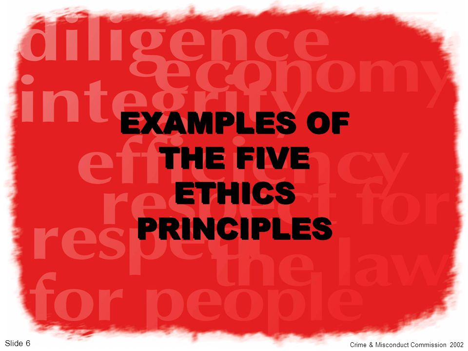 EXAMPLES OF THE FIVE ETHICS PRINCIPLES