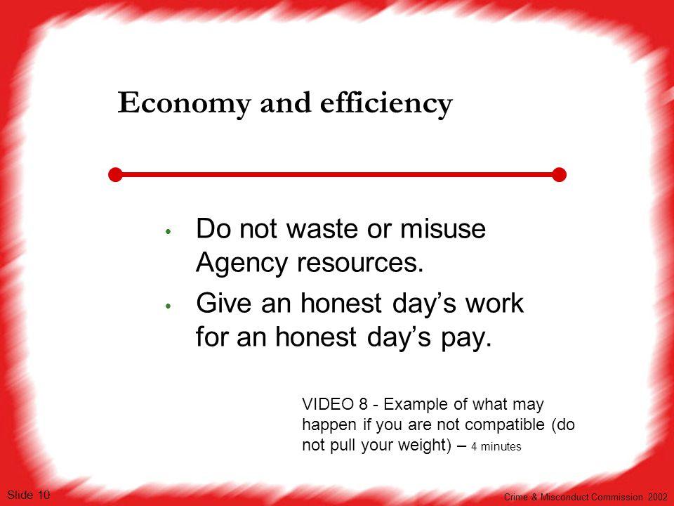 Economy and efficiency