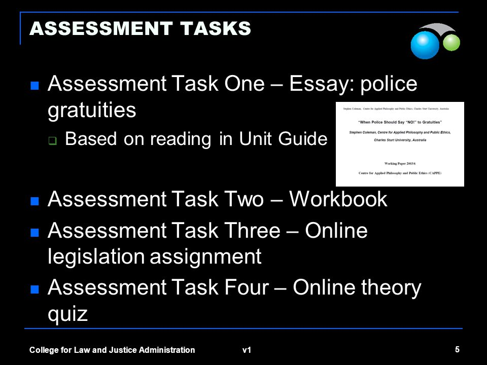 Assessment Task One – Essay: police gratuities
