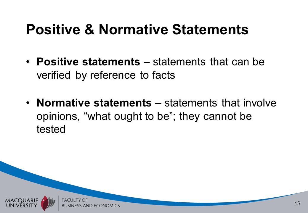 Positive & Normative Statements