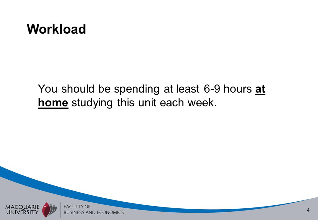 Workload You should be spending at least 6-9 hours at home studying this unit each week.