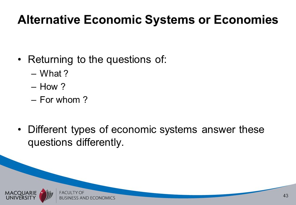 Alternative Economic Systems or Economies