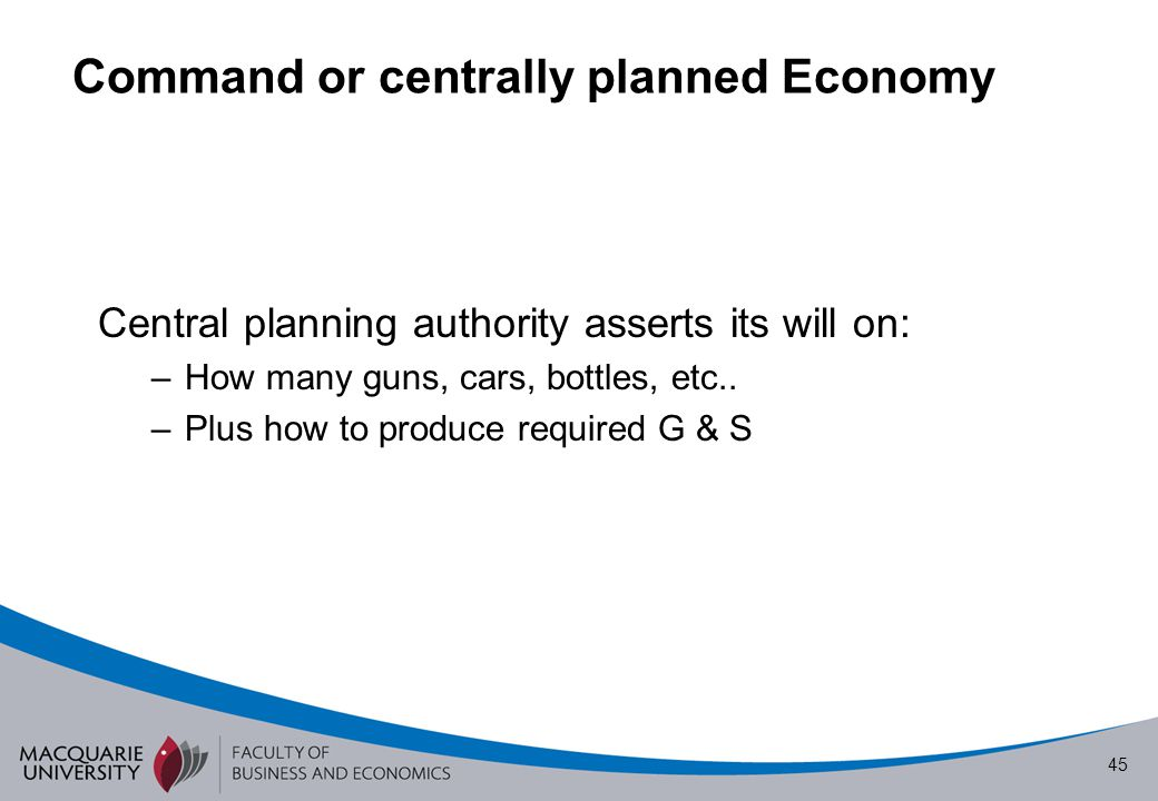 Command or centrally planned Economy
