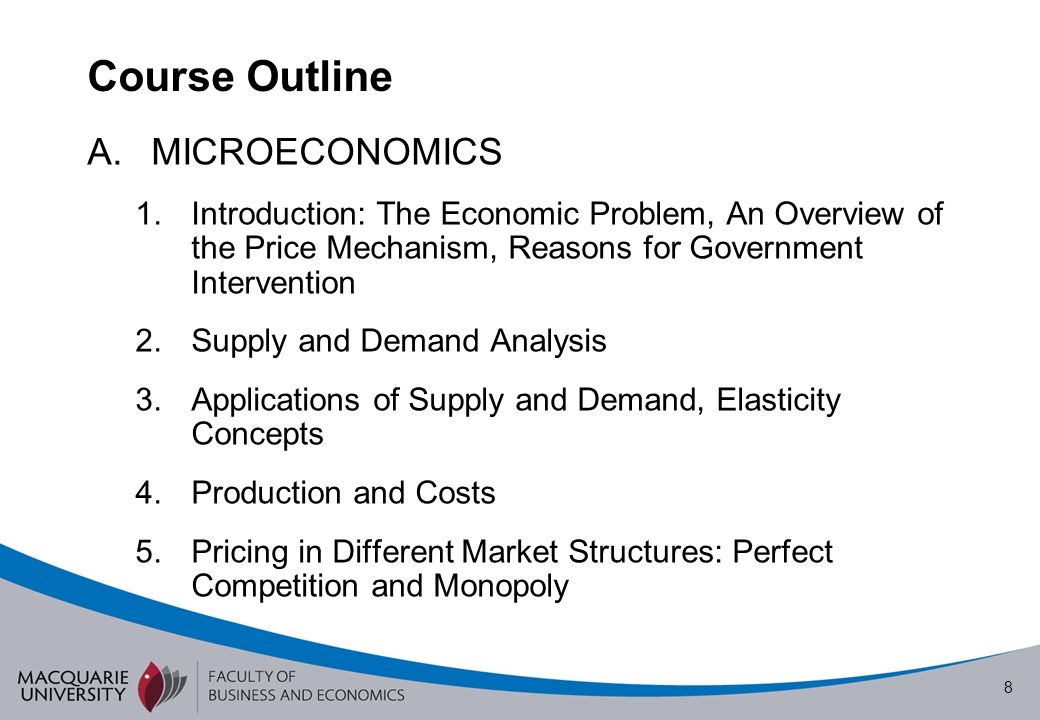Course Outline MICROECONOMICS
