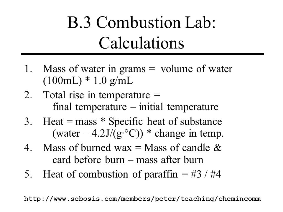 B.3 Combustion Lab: Calculations
