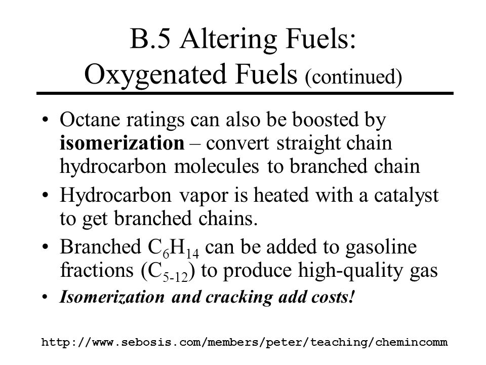 B.5 Altering Fuels: Oxygenated Fuels (continued)