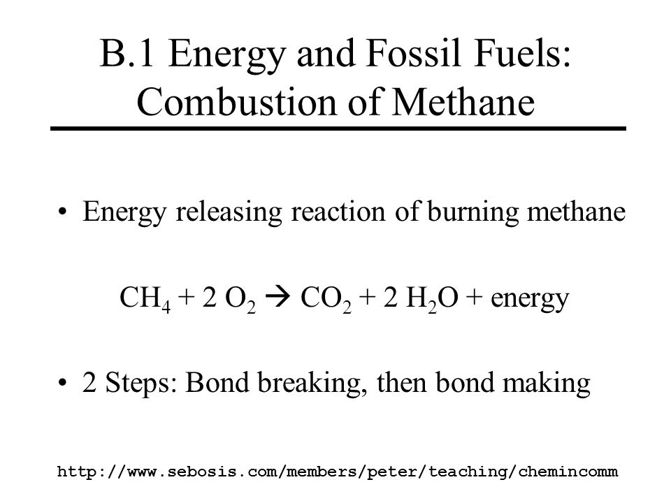 B.1 Energy and Fossil Fuels: Combustion of Methane
