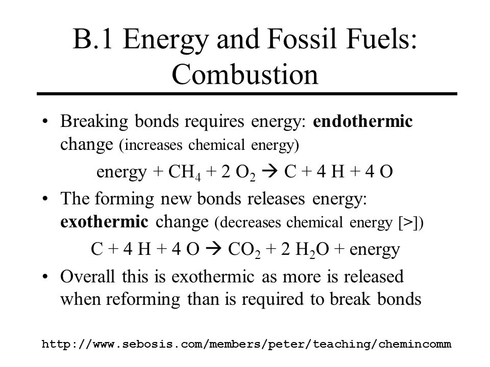 B.1 Energy and Fossil Fuels: Combustion
