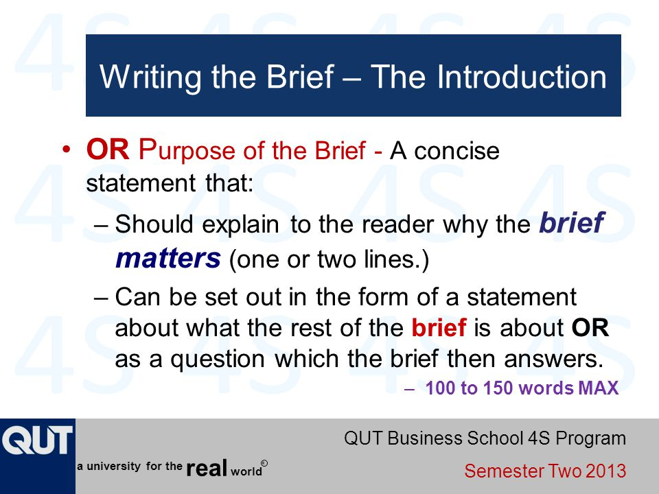 Writing the Brief – The Introduction
