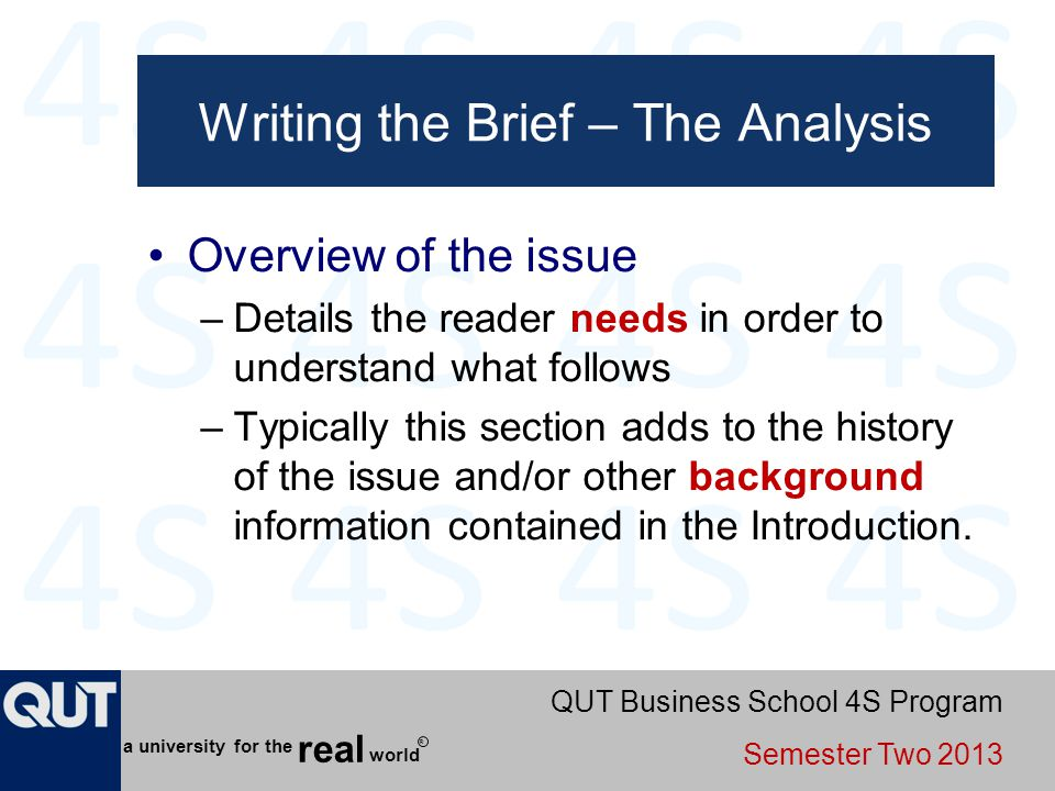 Writing the Brief – The Analysis