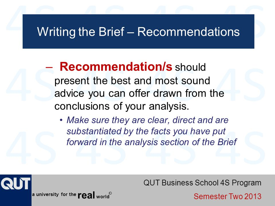 Writing the Brief – Recommendations