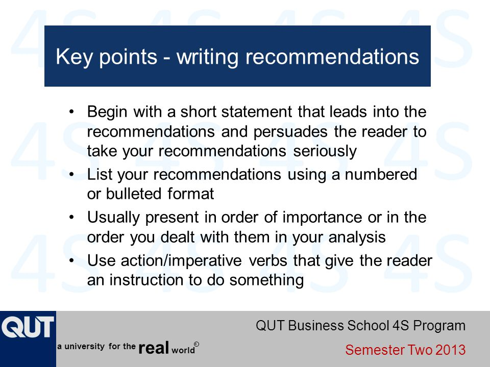 Key points - writing recommendations