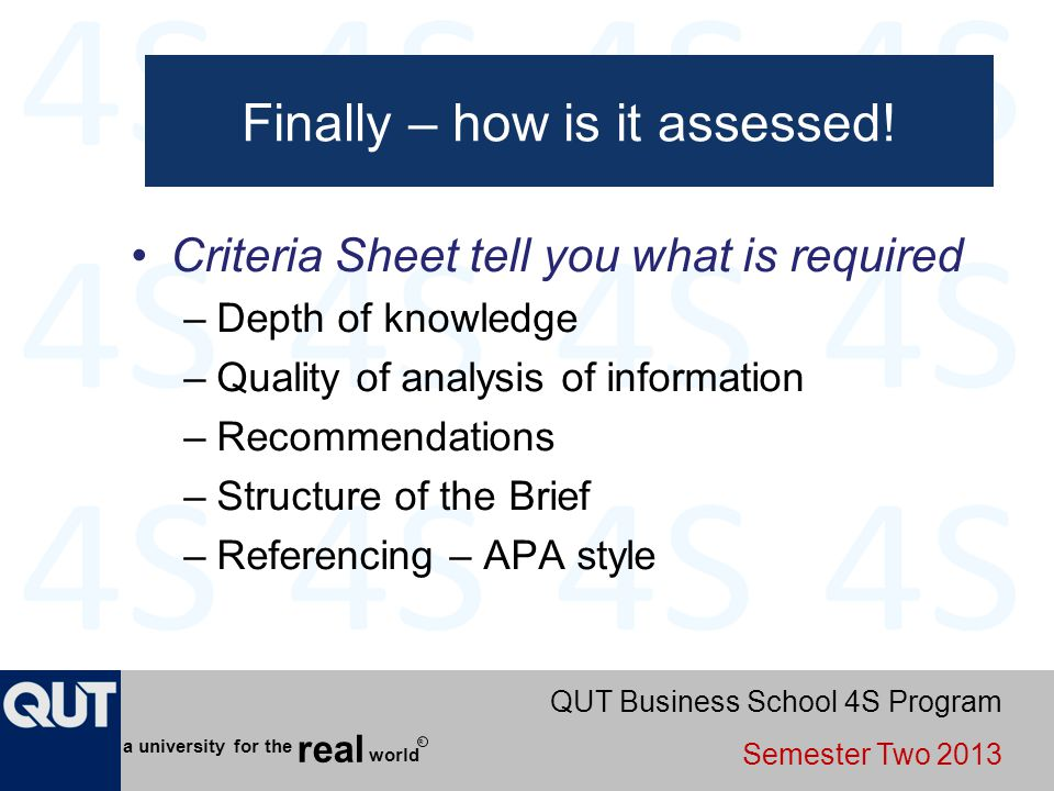 Finally – how is it assessed!