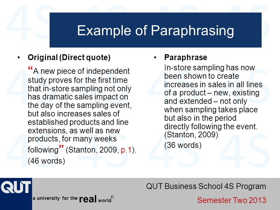 Example of Paraphrasing