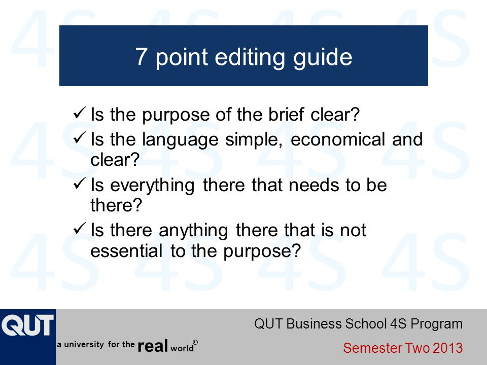 7 point editing guide Is the purpose of the brief clear