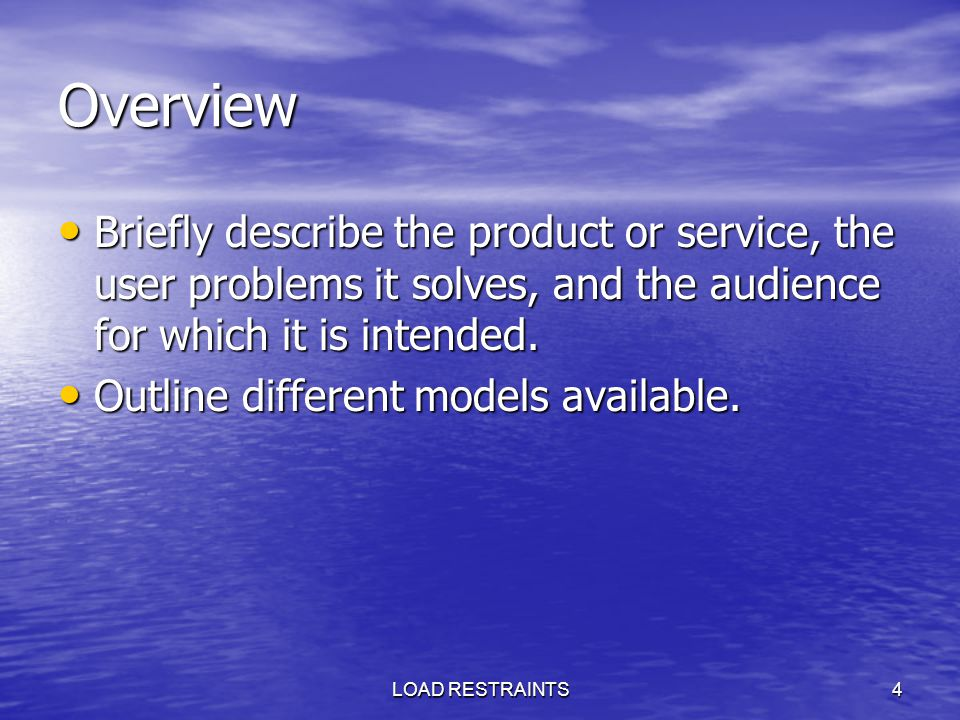 Overview Briefly describe the product or service, the user problems it solves, and the audience for which it is intended.