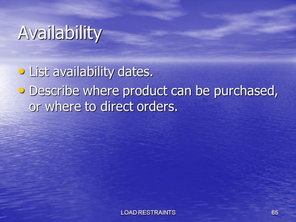 Availability List availability dates.