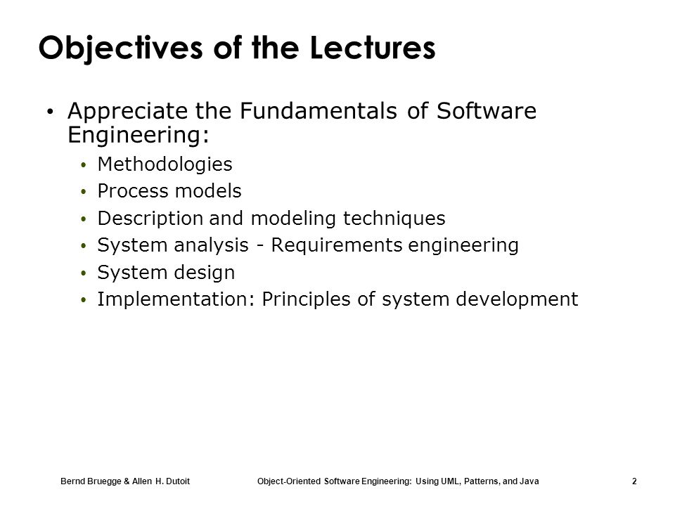 Objectives of the Lectures