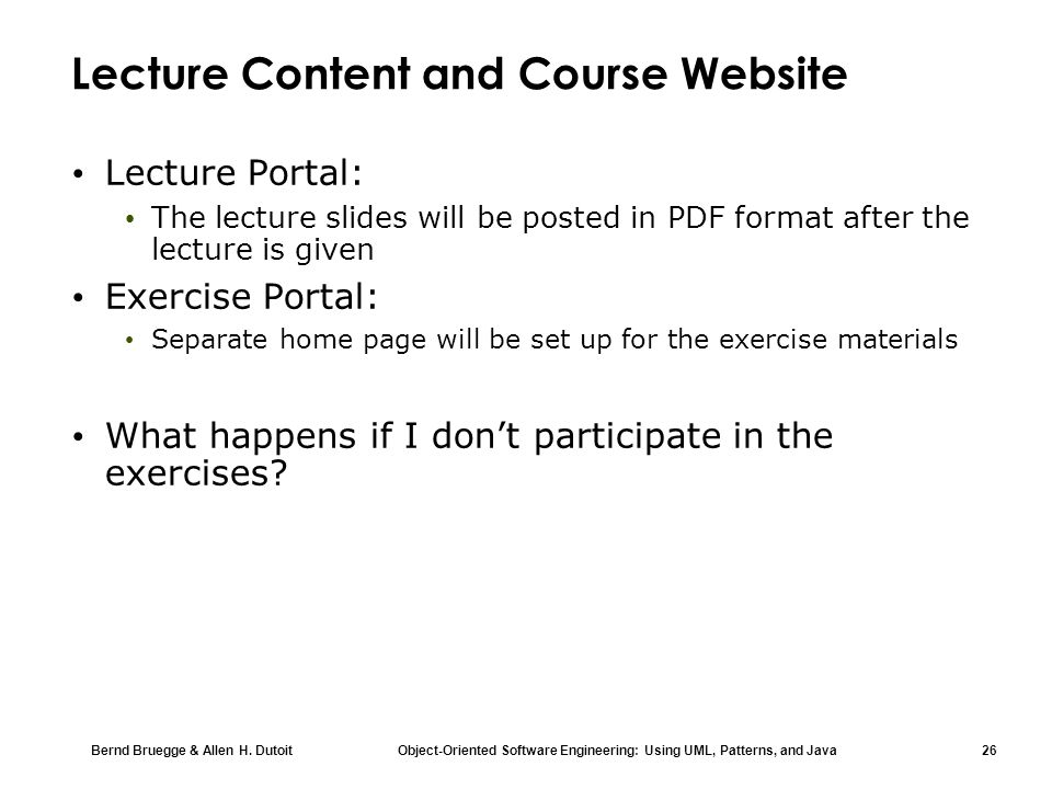 Lecture Content and Course Website