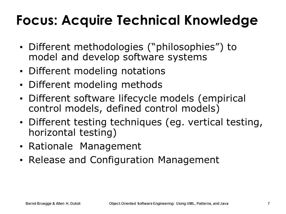 Focus: Acquire Technical Knowledge