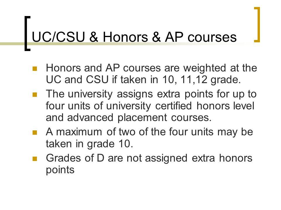 UC/CSU & Honors & AP courses
