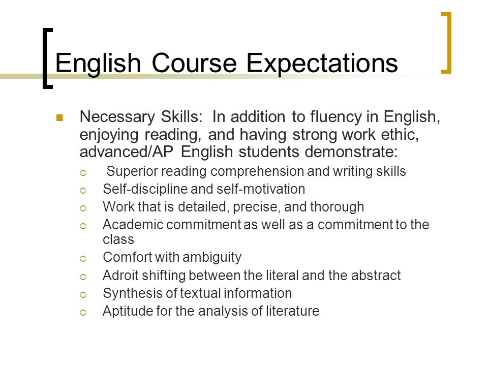 English Course Expectations