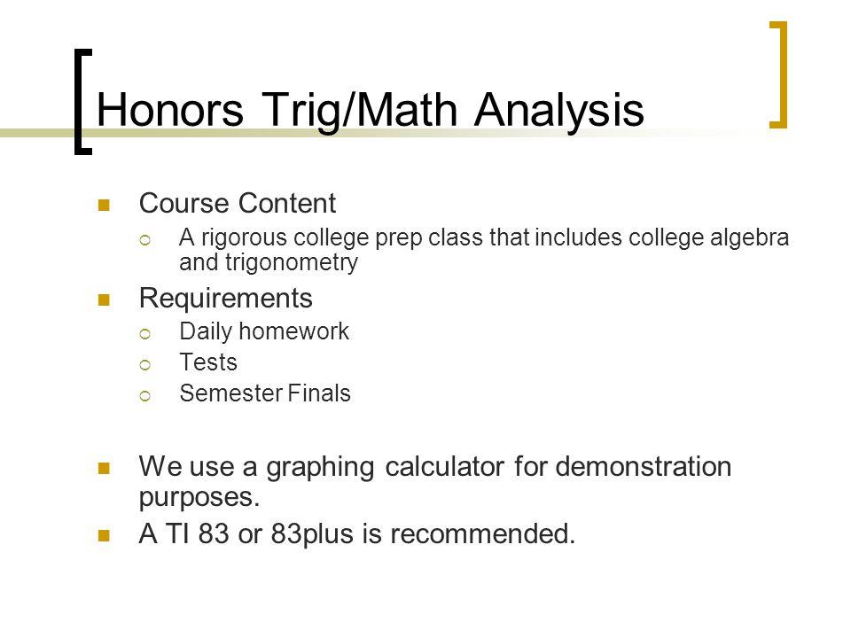 Honors Trig/Math Analysis