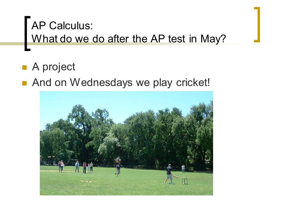 AP Calculus: What do we do after the AP test in May