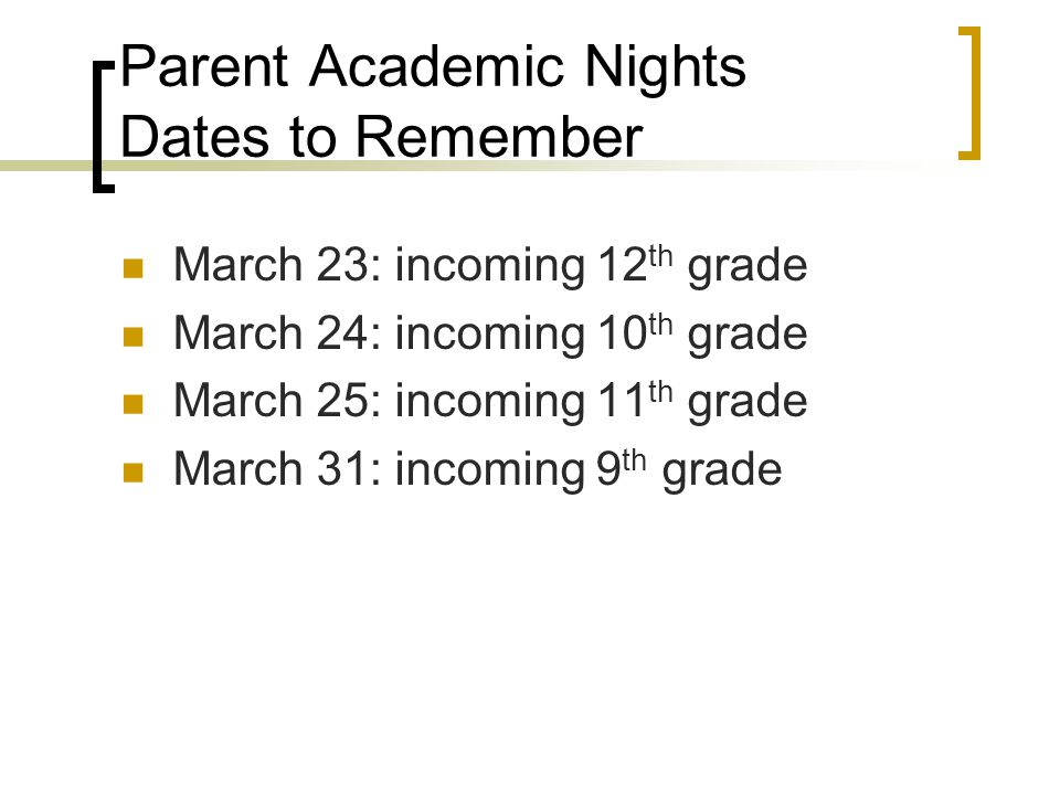 Parent Academic Nights Dates to Remember