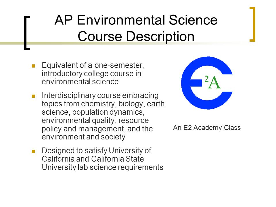 AP Environmental Science Course Description