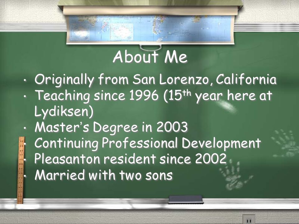 About Me Originally from San Lorenzo, California