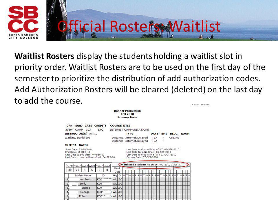 Official Rosters: Waitlist