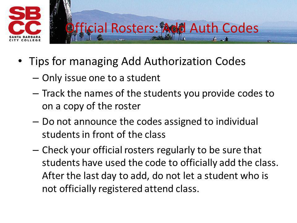 Official Rosters: Add Auth Codes
