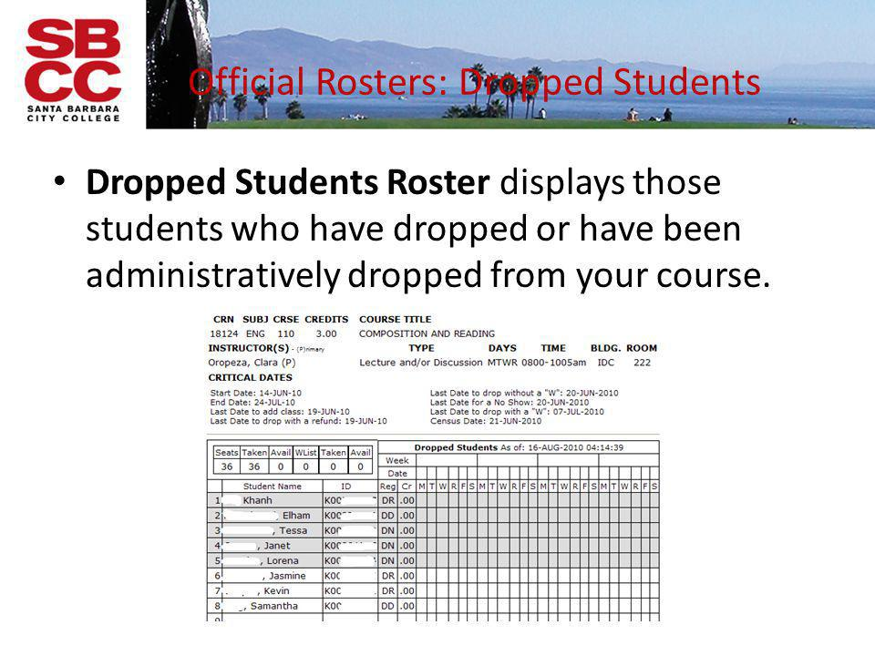 Official Rosters: Dropped Students