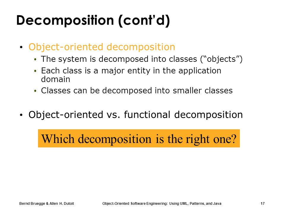 Decomposition (cont'd)