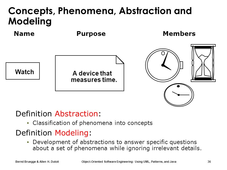 Concepts, Phenomena, Abstraction and Modeling
